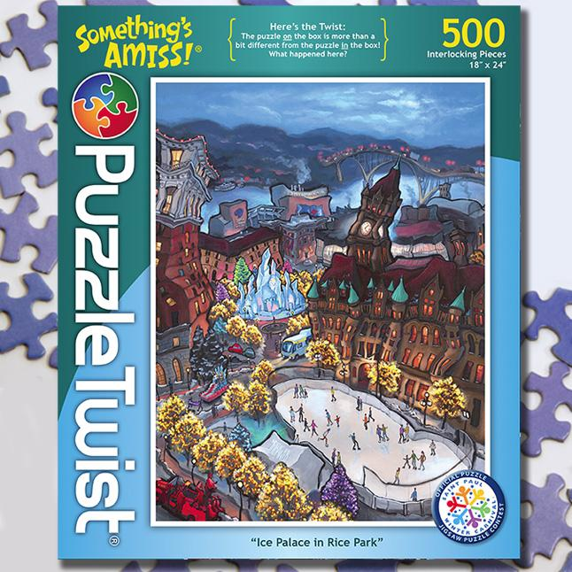 Ice Palace in Rice Park 500 Piece Puzzle Twist Jigsaw Puzzle - Puzzlicious.com