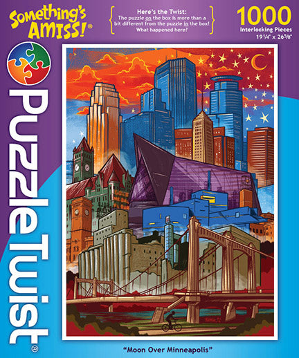Moon Over Minneapolis 1000 Piece Puzzle Twist Jigsaw Puzzle - Quick Ship - Puzzlicious.com