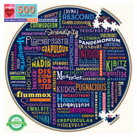 100 Great Words 500 Piece Round Puzzle - Quick Ship