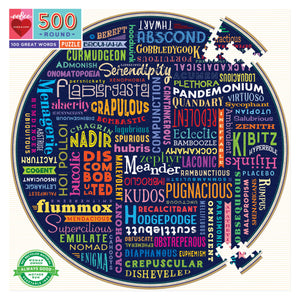 100 Great Words 500 Piece Round Puzzle - Quick Ship - Puzzlicious.com