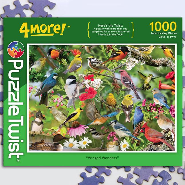 Winged Wonders 1000 Piece Puzzle Twist Jigsaw Puzzle - Quick Ship - Puzzlicious.com