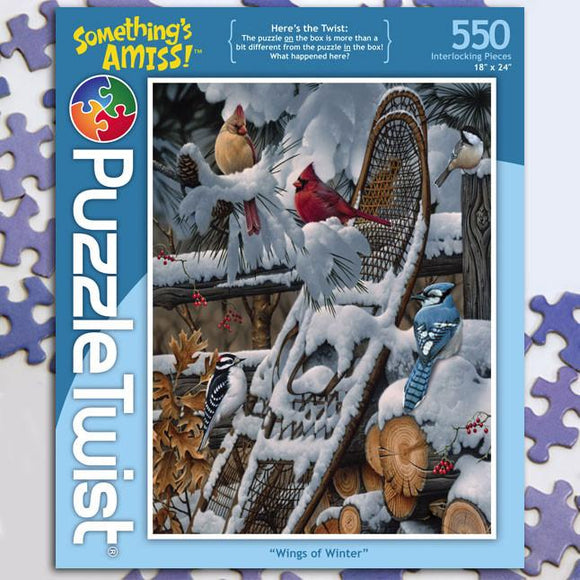 Wings of Winter 550 Piece Puzzle Twist Jigsaw Puzzle - Quick Ship - Puzzlicious.com