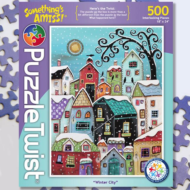 Winter City 500 Piece Puzzle Twist Jigsaw Puzzle - Quick Ship - Puzzlicious.com