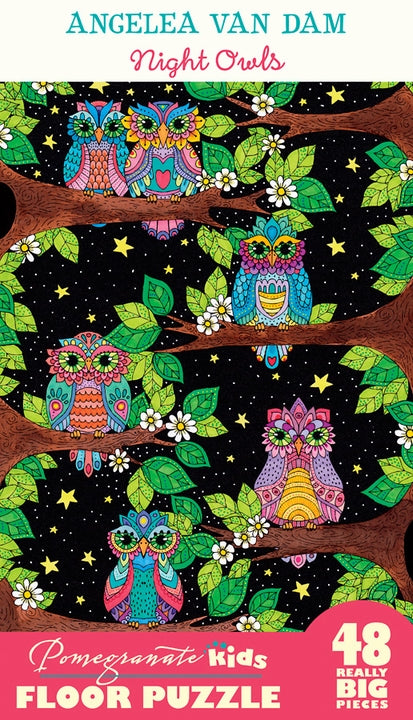 Angelea Van Dam: Night Owls 48 Piece Floor Puzzle - Quick Ship - Puzzlicious.com
