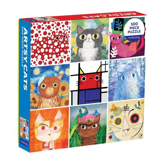 Artsy Cats 500 Piece Puzzle - Quick Ship - Puzzlicious.com