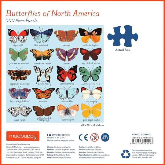 Butterflies of North America 500 Piece Family Puzzle - Quick Ship - Puzzlicious.com
