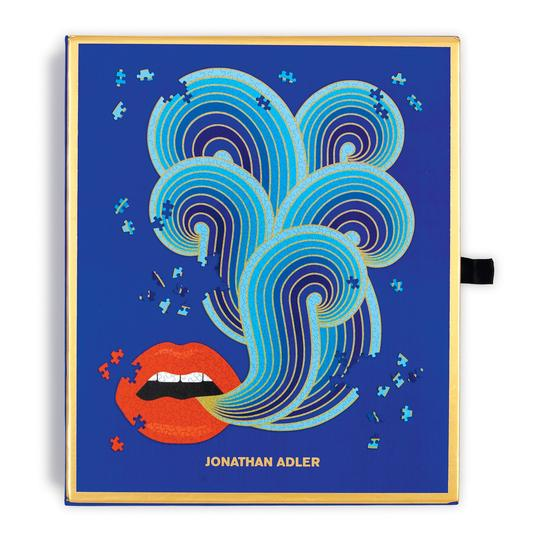 Jonathan Adler 750 Piece Lips Shaped Jigsaw Puzzle - Quick Ship - Puzzlicious.com