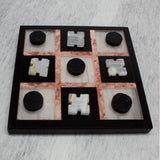 "Marble ""Rose on Black"" Tic Tac Toe - Quick Ship"
