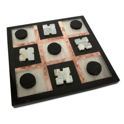 "Marble ""Rose on Black"" Tic Tac Toe - Quick Ship - Puzzlicious.com"