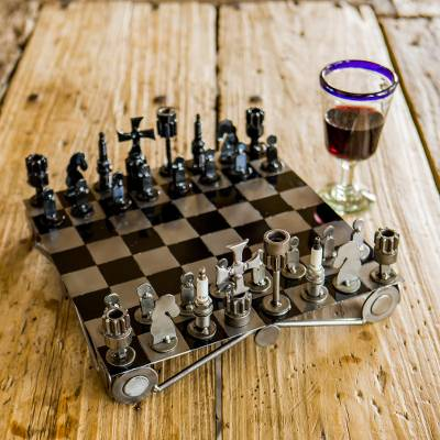 Unique Recycled Auto Part Chess Set,