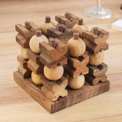 Handmade Wooden Game of 3D Tic Tac Toe - Puzzlicious.com