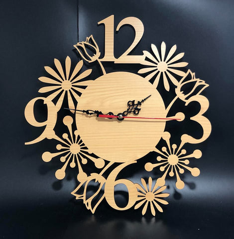 Floral Cut Out Design Clock - Laser Cut Crafts