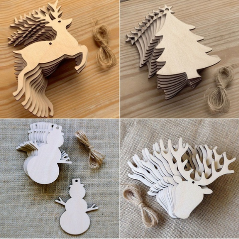 Mixed Christmas Decorations (5 Pack) - Laser Cut Crafts
