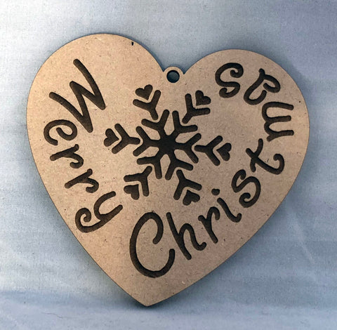 Merry Christmas Heart - Laser Cut Crafts