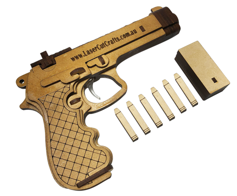 Beretta Hand Gun Pistol (Rubber-band powered Gun) + Free Shipping