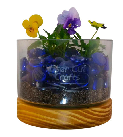 Beautiful Personal Engraved Glass Plant Bowl - Laser Cut Crafts