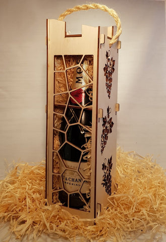 Personal Engraved Decorative Wine Box - Laser Cut Crafts