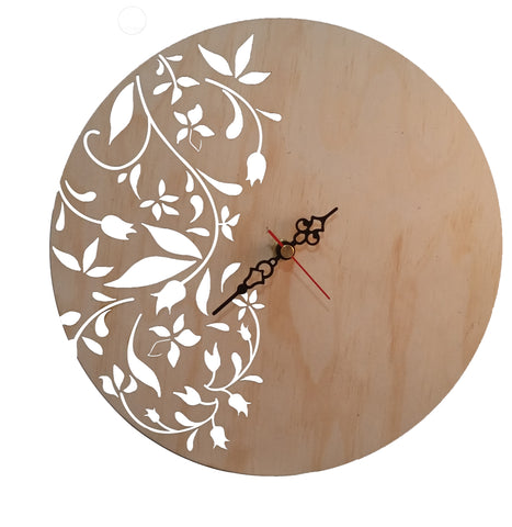 Floral Design Wall Clock - Laser Cut Crafts