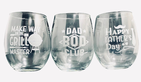 Father's Day engraved stemless glasses