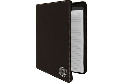 Leatherette  portfolio with zipper black/silver - Laser Cut Crafts