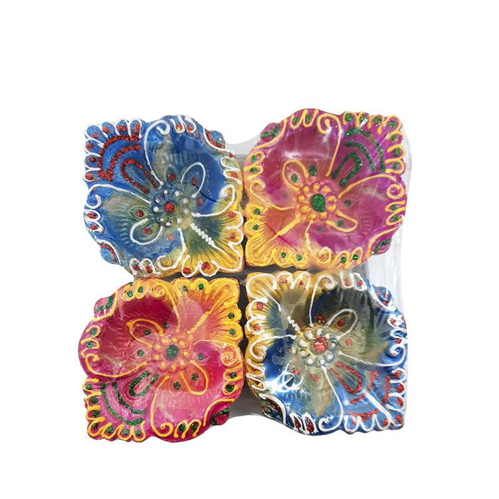 Premium Colorful Diya (Pack of 4)