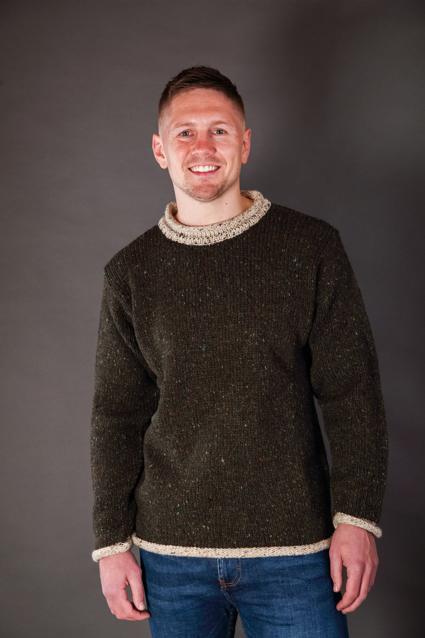 Hand Loomed Irish Stout Two Tone Roll Neck