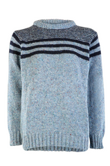 Hand Loomed Denim Stripe Crew Neck Sweater