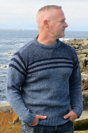 Hand Loomed Ocean Stripe Crew Neck Sweater