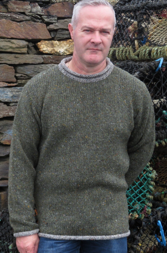Hand Loomed Slieve Liag Two Tone Roll Neck Sweater