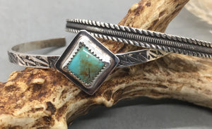 Everyday turquoise and silver cuff bracelets. Taylor Metal Designs.