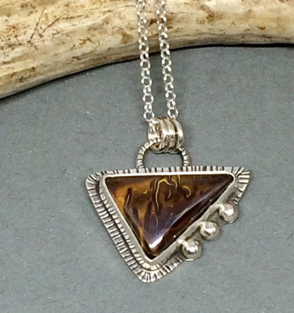 Opal Necklace, Boulder Opal Necklace, Triangle Necklace, Sterling Opal Necklace, Opal Necklace Silver