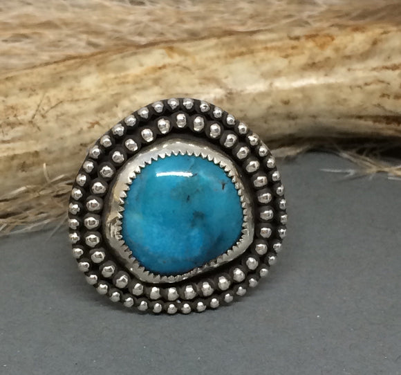 Sterling Silver Turquoise Ring, Round Turquoise Ring, Kingman Turquoise, Silver Turquoise Ring, Southwestern Ring, Bohemian Ring