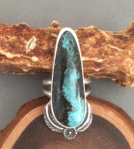 Turquoise Ring, Silver Turquoise Ring, Blue Moon Turquoise, Southwestern Ring, Turquoise Jewelry, Rustic Turquoise Ring