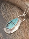 Sterling Turquoise Necklace, Turquoise Necklace Silver, Kingman Turquoise, Southwestern Jewelry, Teardrop Necklace