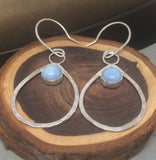 Opal Earrings, Sterling Silver Hoop Earrings, Blue Opal Earrings, Silver Hoop Earrings, Bohemian Earrings,