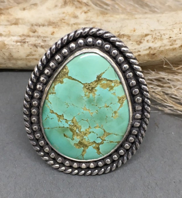 Sterling Silver Turquoise Ring, Statement Ring Turquoise, Silver Turquoise Ring, Turquoise Ring Sterling, Bohemian Ring, Southwestern Ring