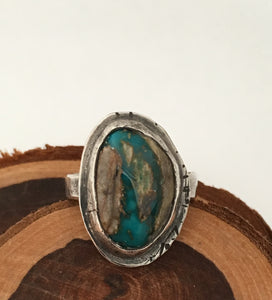 Tuff Gurlz Ring, Royston Turquoise Ring, Rustic Jewelry, Adjustable Ring
