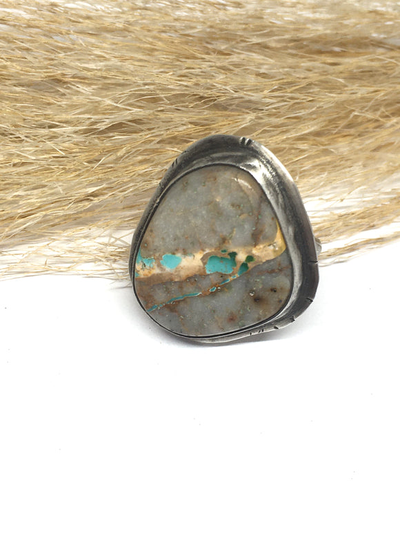 Tuff Gurlz Ring, Adjustable Ring, Royston Turquoise Ring, Rustic Jewelry, Turquoise Ring, Turquoise Jewelry