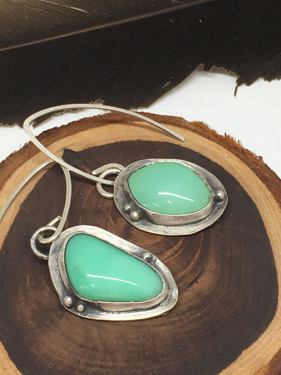 chrysoprase earrings, asymmetrical earrings, sterling silver earrings, rustic earrings, handmade earrings, green gemstone earrings