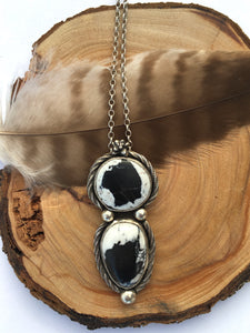 White Buffalo, Statement Necklace, Double Stone Pendant, Bohemian Necklace