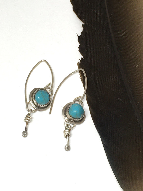 Small Turquoise Earrings, Southwestern Earrings, Turquoise Dangle Earrings