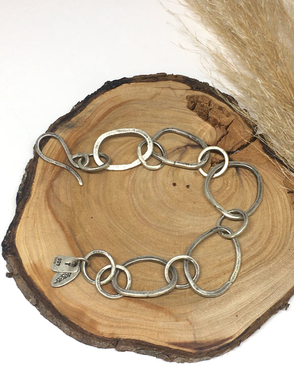 Hammered Sterling Silver Link Bracelet Made To Order