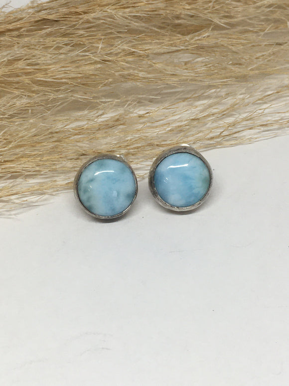 Larimar Stud Earrings, Sterling Silver Earrings, Dominican Republic