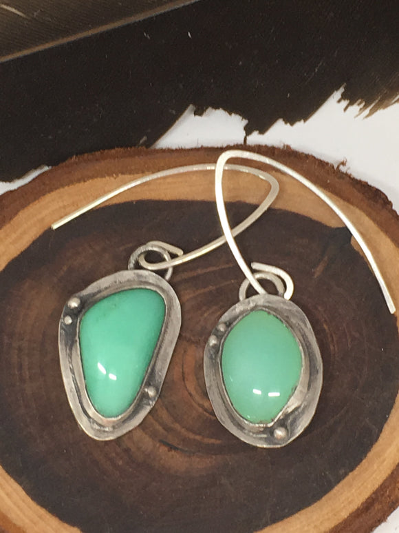 chrysoprase earrings, dangle earrings, silver earrings, sterling silver earrings, rustic earrings, chrysoprase jewelry, green earrings, green gemstone earrings, handmade earrings, taylor metal designs