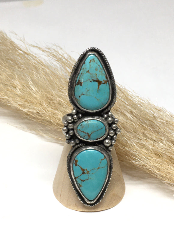 Turquoise ring, Kingman Turquoise, Womens ring, southwestern ring, Western style ring, Cowgirl jewelry, handmade silver jewelry