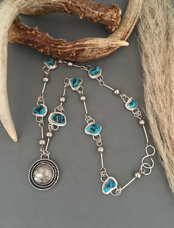 Silver Turquoise Necklace, Coin Necklace, Buffalo Head Nickle Coin Necklace