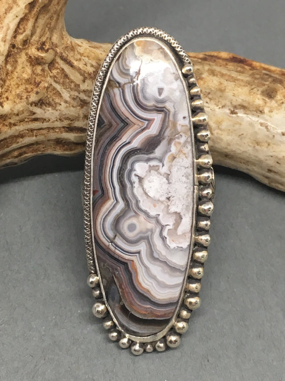 Bohemian Ring, Ling Ring, Agate Ring, Crazy Lace Agate Ring, Wide Band Ring, Handmade, Taylor Metal Designs