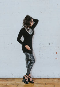 Shabeena Black and White Capri