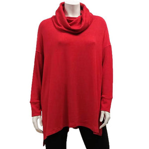 Modal Sweater Knit Boxy Cowl Tunic