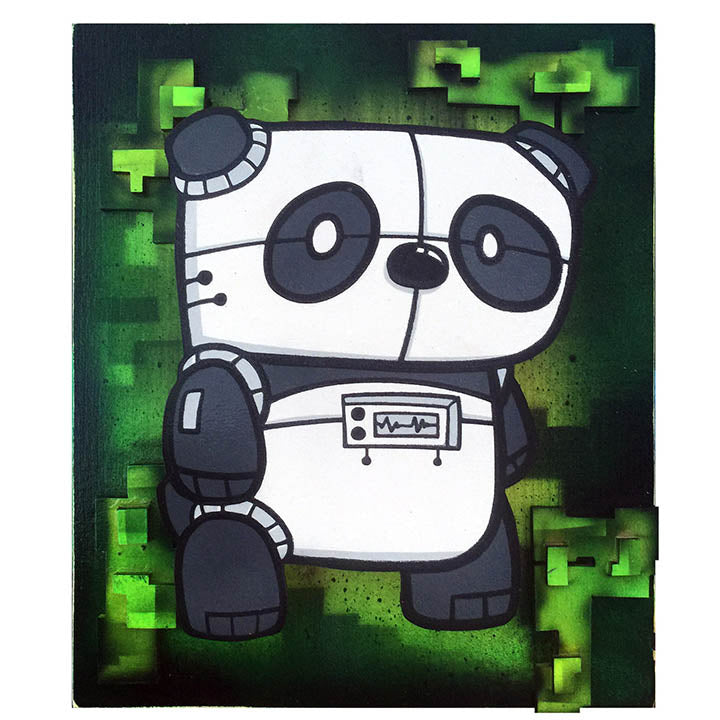 Medium Electric Panda - Wall Art-Medium Wall Art-Red Rocket Farm